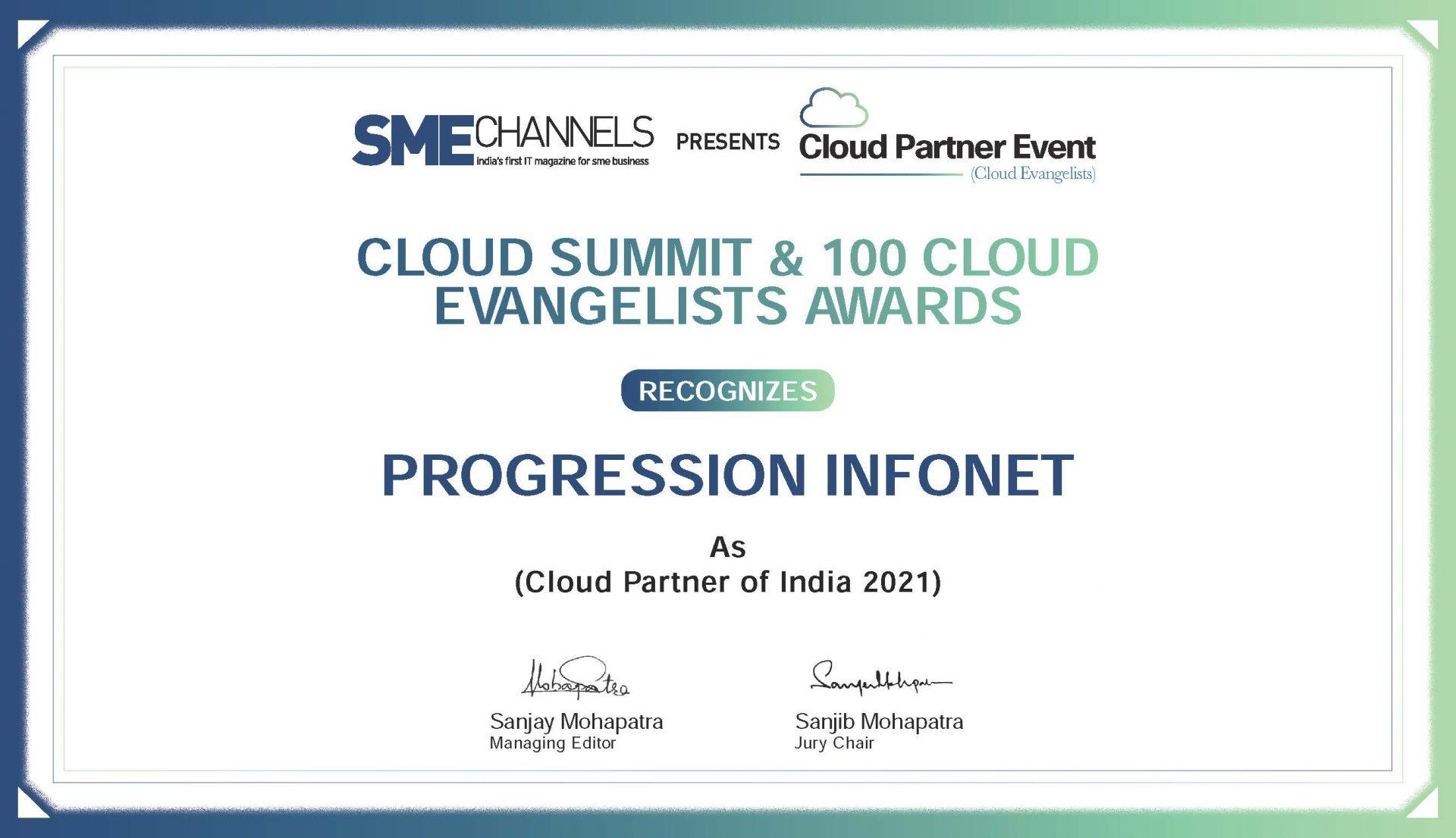 Progression Cloud Partner Award